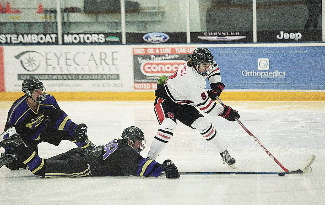 Steamboat Springs senior Andrew Mitchell has his shot knocked away in front of the Fort Collins goal when the two teams met in Steamboat Springs back in December. The Sailors will be looking to beat Kent Denver Friday and Standley Lake Saturday with hopes of setting up a showdown with Fort Collins next weekend.