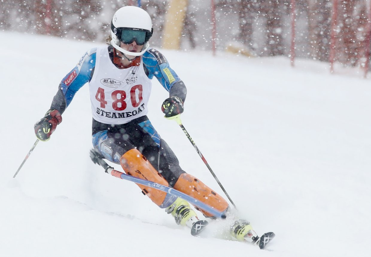 Alex Coffey races to a top-10 finish last week in a slalom event at Copper Mountain.