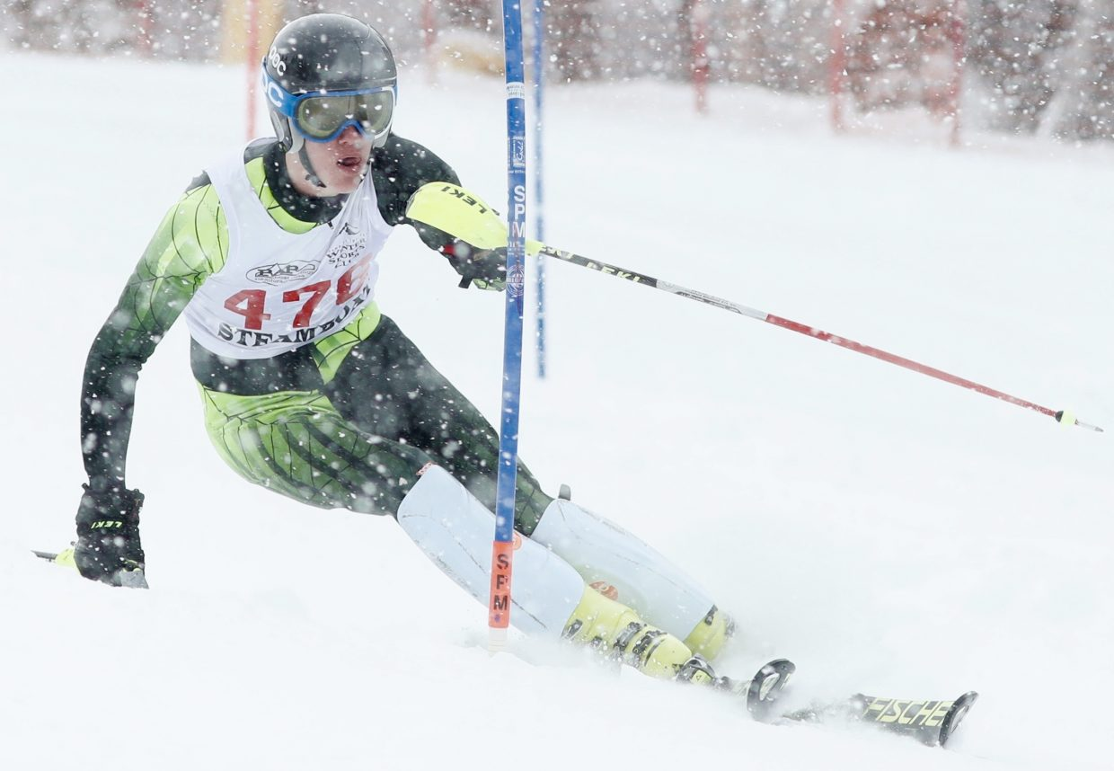 Steamboat Springs High School senior Andrew McCawley races down the course last week at Copper Mountain.