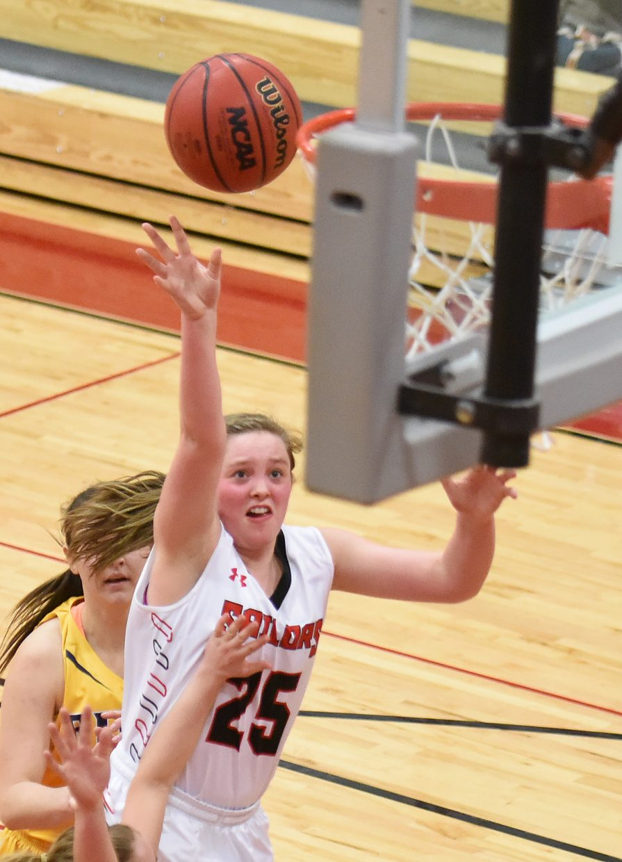 Steamboat senior Jenna Miller gets a shot up Tuesday against Rifle.