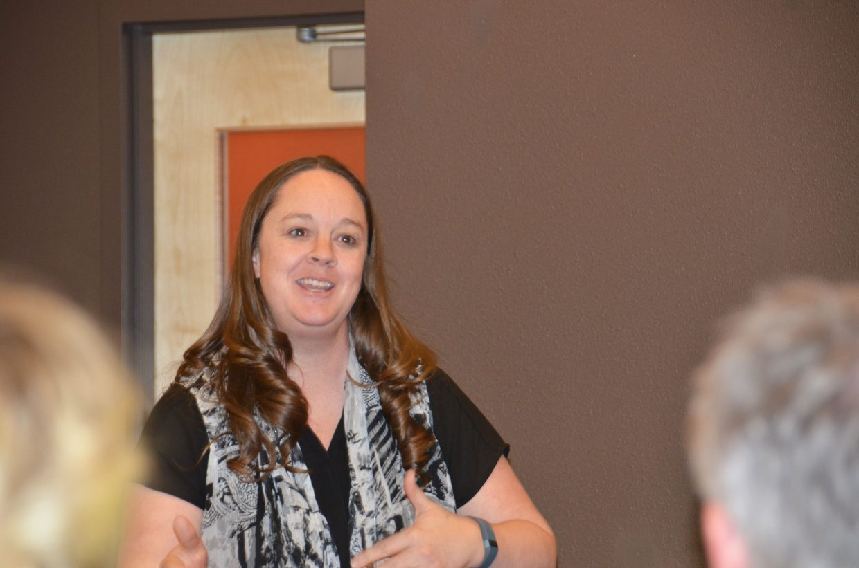 Krista Schenck, an instructional coach for Moffat County School District, talks about technology during Tuesday night's session with parents at Craig Middle School. Schenck, who also teaches high school businesses courses, says technology can — among other things — help students reach a wider and more authentic audience with their work.