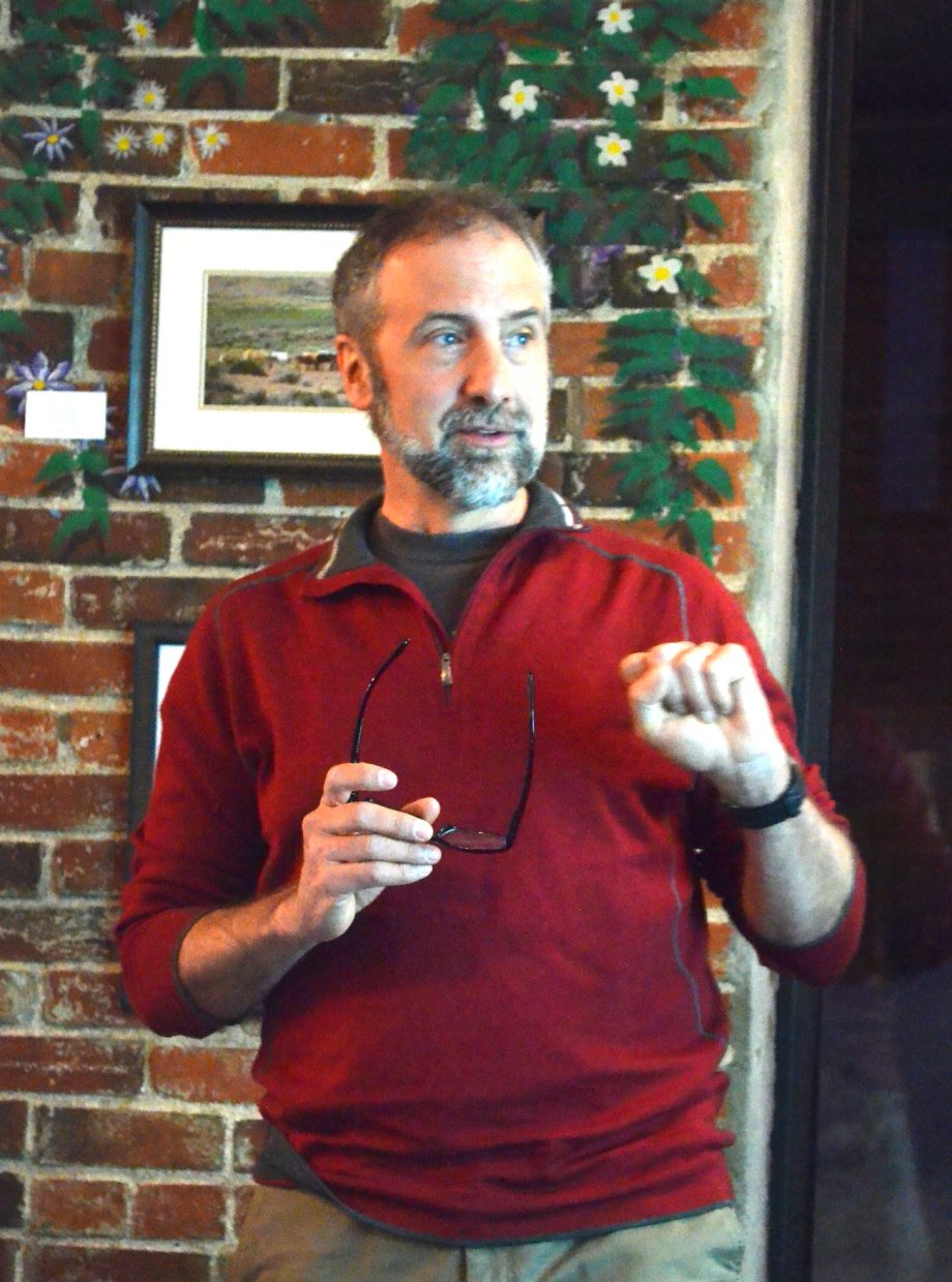 Tim Sullivan, The Nature Conservancy's climate director for North America, speaks on the role of land-based solutions in global climate strategy before a packed house at Creekside Cafe in Steamboat Springs Jan. 26.