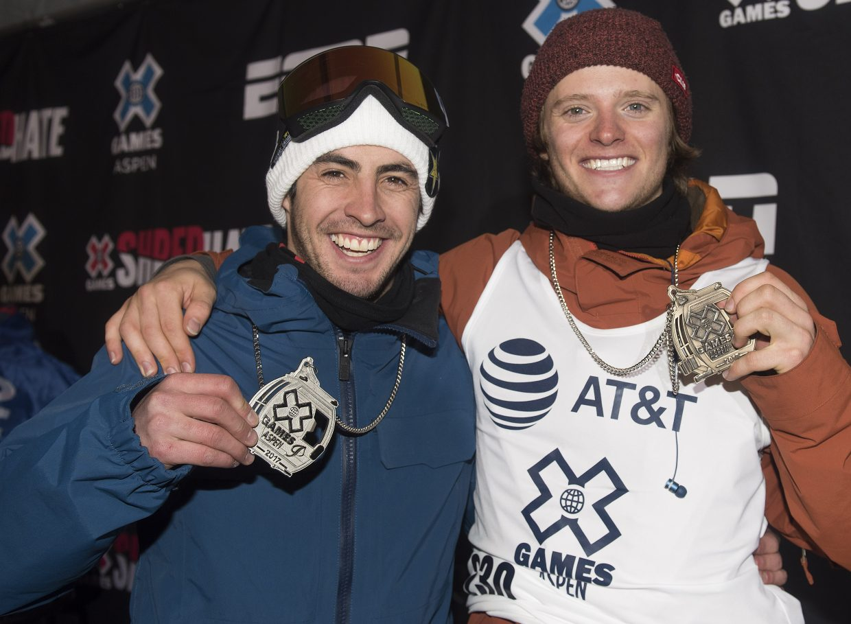 Matt Ladley, left, was second and Taylor Gold third on Thursday as the Steamboat Springs riders both earned spots on the X Games men's snowboard superpipe podium.