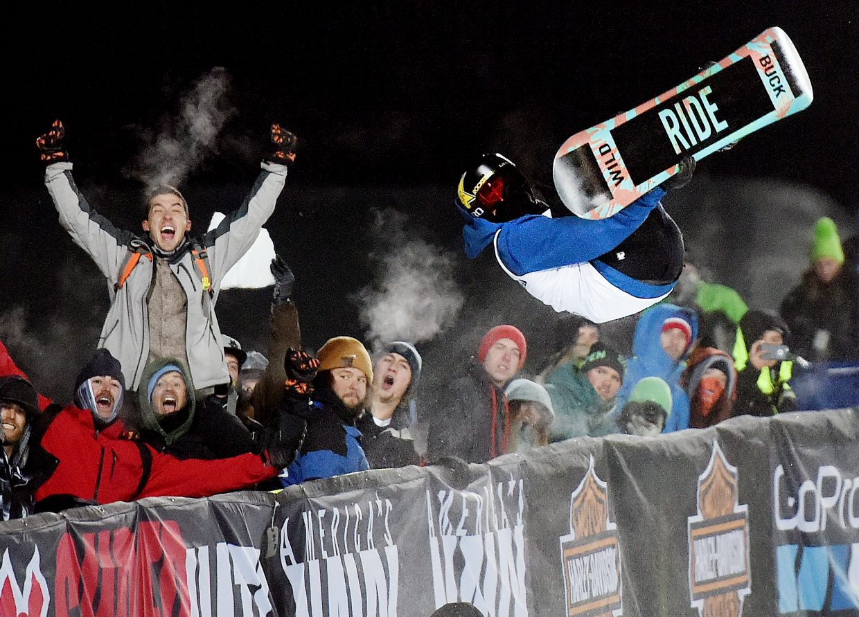 Matt Ladley flips by the crowd Thursday on his way to a silver medal at the X Games.