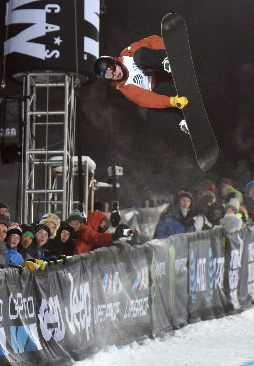 Taylor Gold flies high Thursday during X Games. He went on to win bronze in the men's snowboard superpipe.