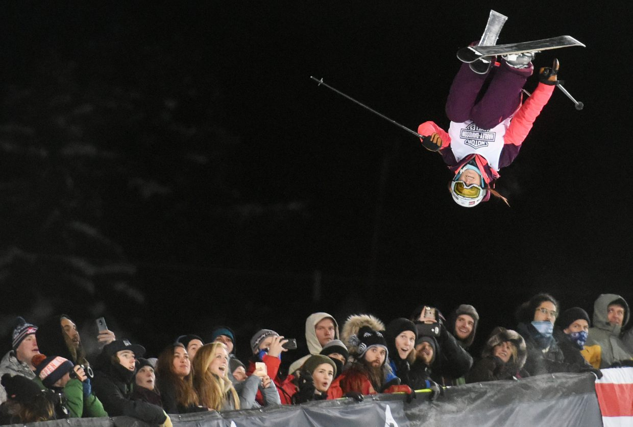 Marie Martinod flips over the crowd Friday night at X Games in Aspen on her way to winning gold in the women's skier superpipe event. That win snapped the streak of Maddie Bowman, who'd won the event four years in a row.