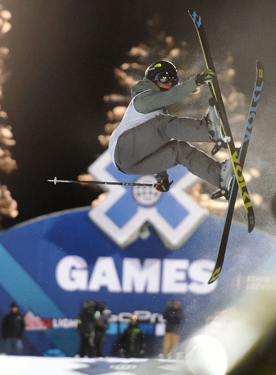 Maddie Bowman flies through a trick Friday during the women's skier superpipe event at X Games.