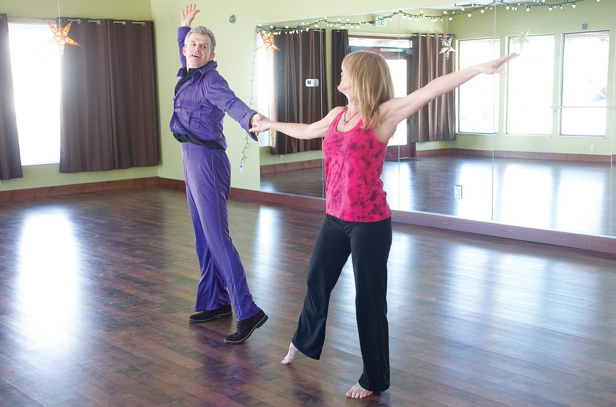 PJ Wharton and Deb Curd work on dance moves Tuesday for this year's Steamboat Dancing with the Stars fundraiser. The show is scheduled for 7:30 p.m. Friday at Strings Music Pavilion.