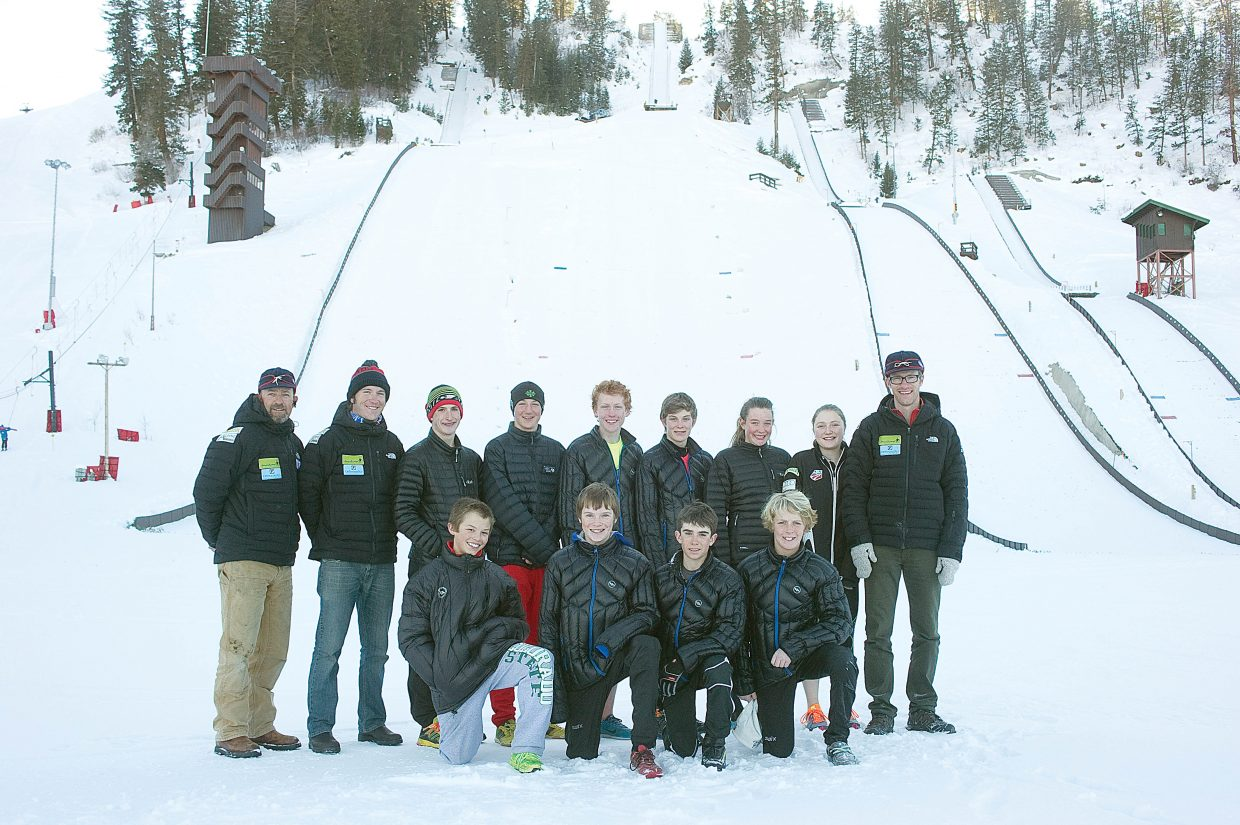 Twelve skiers from the Steamboat Springs Winter Sports Club will represent the Rocky Mountain Division at this year's Nordic combined and special jumping Junior National Championships in Alaska. The team will include, back row from left, coach Todd Wilson, coach Sam Chovan, skier Grant Andrews, Noel Keeffe, Peter Rosenthal, Koby Vargas, Esther DelliQuadri and Melissa Requist; and, front row from left, Davis Petersen, Finn O'Connell, Wyatt Gebhardt and Decker Dean. Not pictured are Logan Sankey and Elijah Vargas.