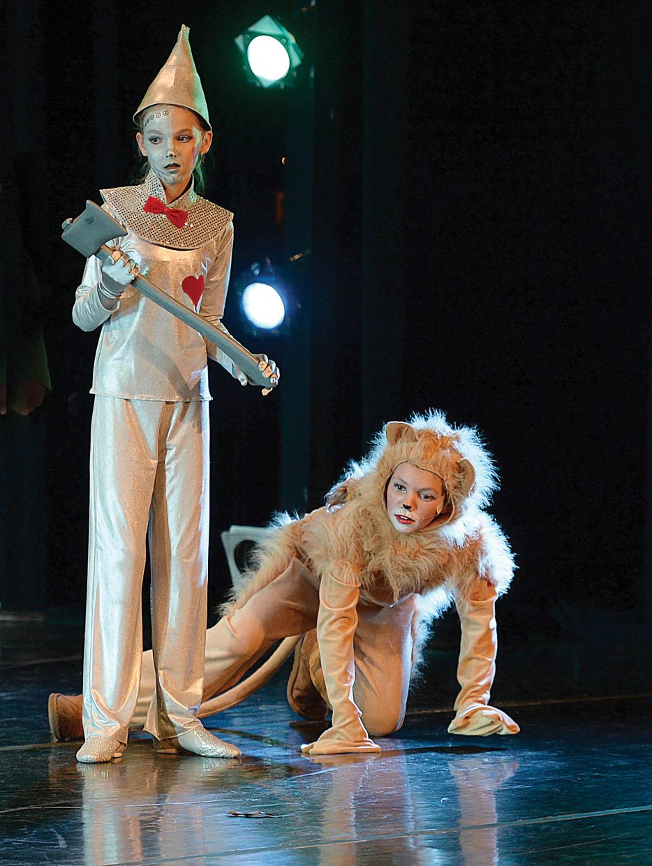 Gigi Gray (The Tin Man) and Ella Chapman (The Lion) share a scene while rehearsing for the Wiz. Members if Elevation Dance Studio will bring the show to the stage at the Steamboat Springs High School this weekend with 6 p.m. performances Friday and Saturday evening.