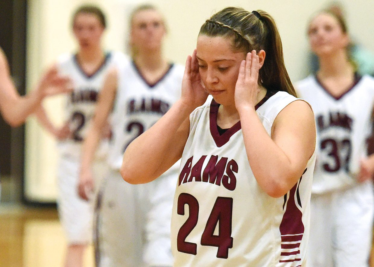 Soroco junior DaKota Bruner puts her hands to her head after the Rams lost Thursday at home against Vail Christian, 50-48.