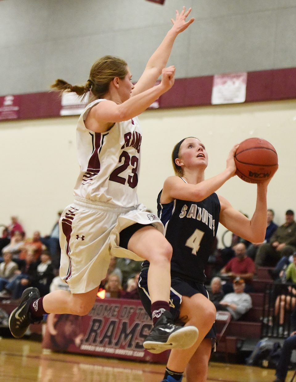 Soroco's Mattie Rossie goes up to try to block a shot Thursday against Vail Christian.