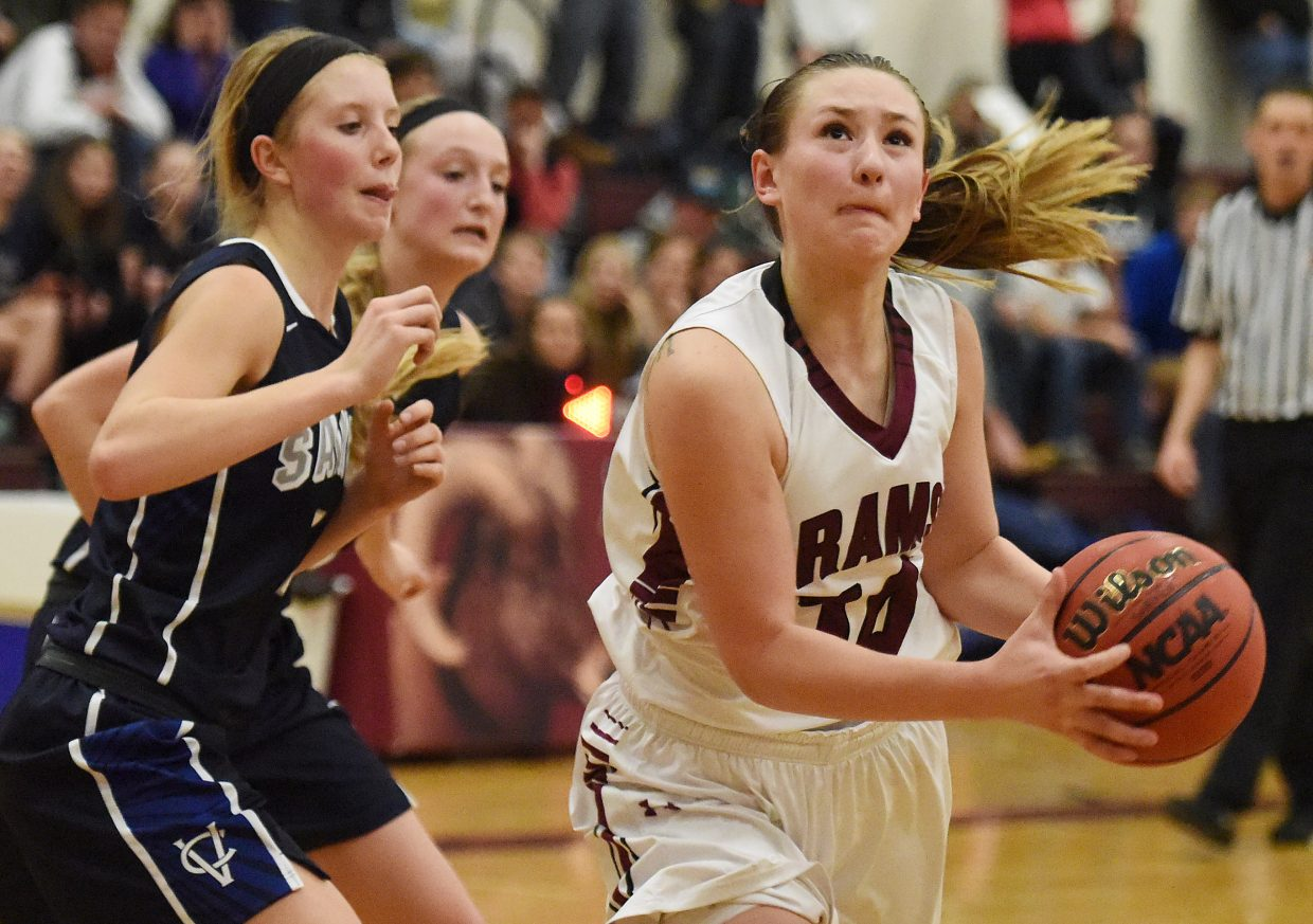 Soroco's Briana Peterson looks to get a shot up against Vail Christian earlier this season. The star senior was named second team all-state in Class 2A and was named the league's player of the year.