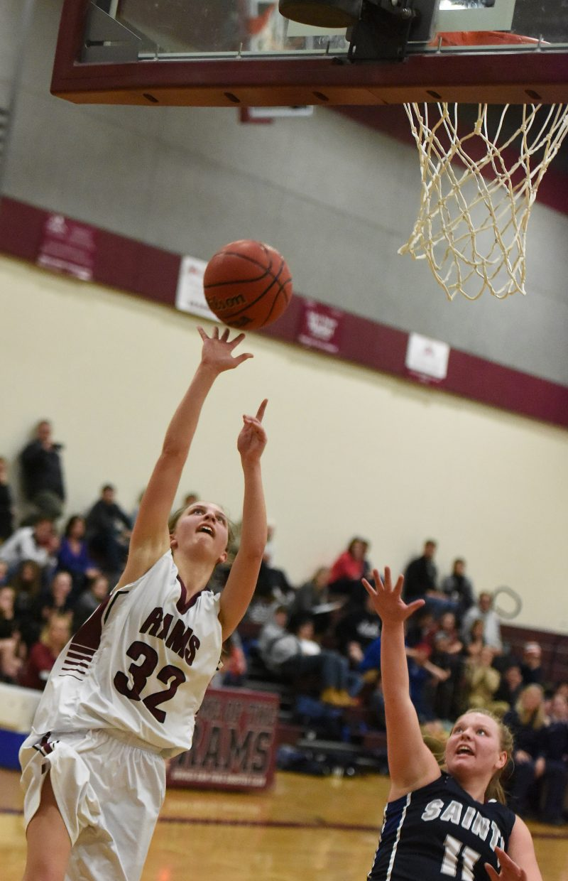 Soroco sophomore Charlee Veilleux goes up for a layup Thursday against Vail Christian.