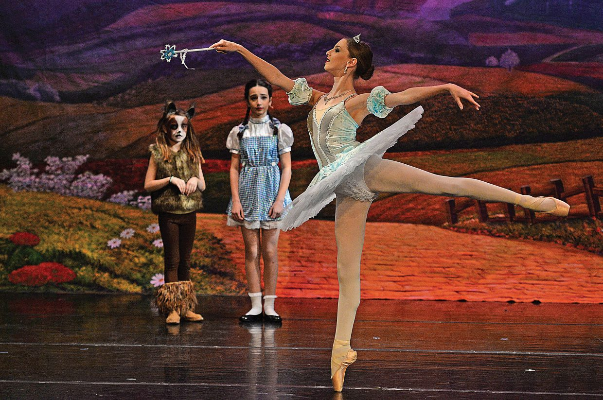 Olivia Satkiewicz, playing the part of Glenda, shares the stage with Jolie Waldman (Dorothy) and Soleil Nelson (Toto) during a rehearsal for The Wiz, which will take center stage at the Steamboat Springs High School this weekend. Members of Elevation Dance Studio will bring the show to Steamboat Springs High School this weekend with 6 p.m. performances Friday and Saturday evening. For the complete story, see today's Explore.