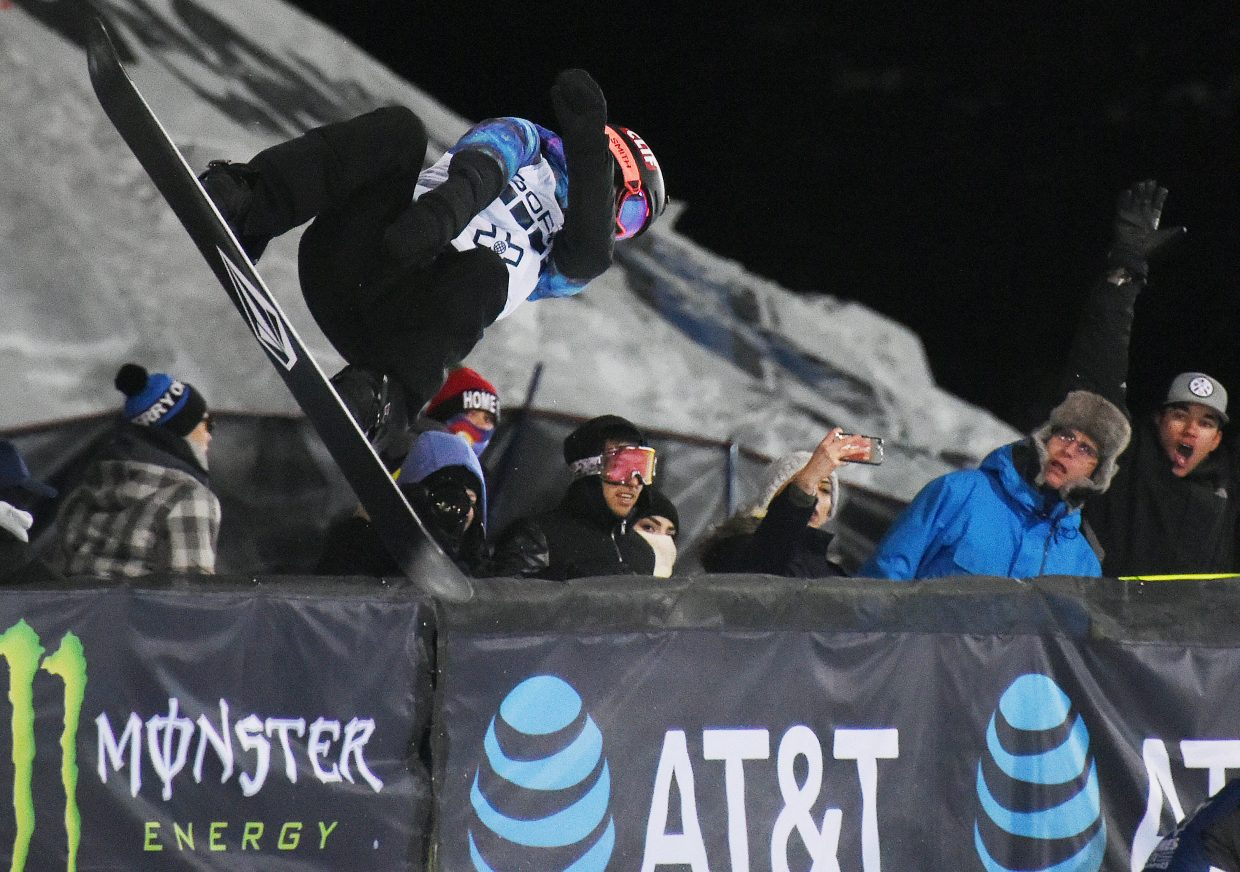 Elena Hight flies by the crowd Saturday en route to a gold medal in the women's X Games superpipe event. Steamboat's Arielle Gold struggled to land her runs and finished sixth.