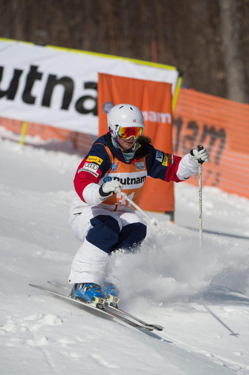 Steamboat Springs skier Lane Stoltzner makes her way down the moguls run at Whiteface in Lake Placid, New York, on Thursday during a World Cup event. Making her third World Cup start of her career Stoltzner made finals at the event, placing 15th.