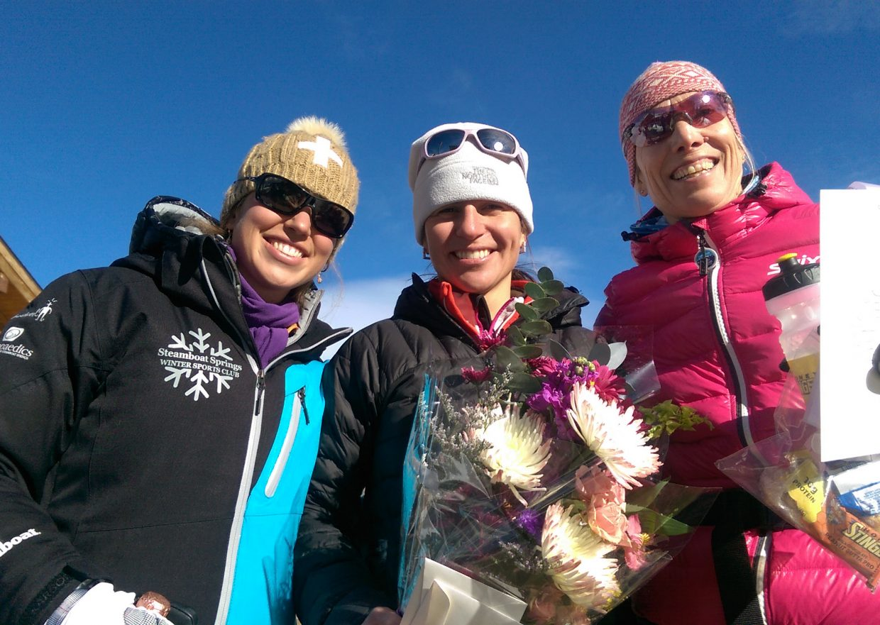 Steamboat Springs skiers Nikki Durkan, left, was second and Emily Lovett, right, was third while Maria Wik won a 30-kilometer classic skiing event at Devil's Thumb Ranch in Grand County.