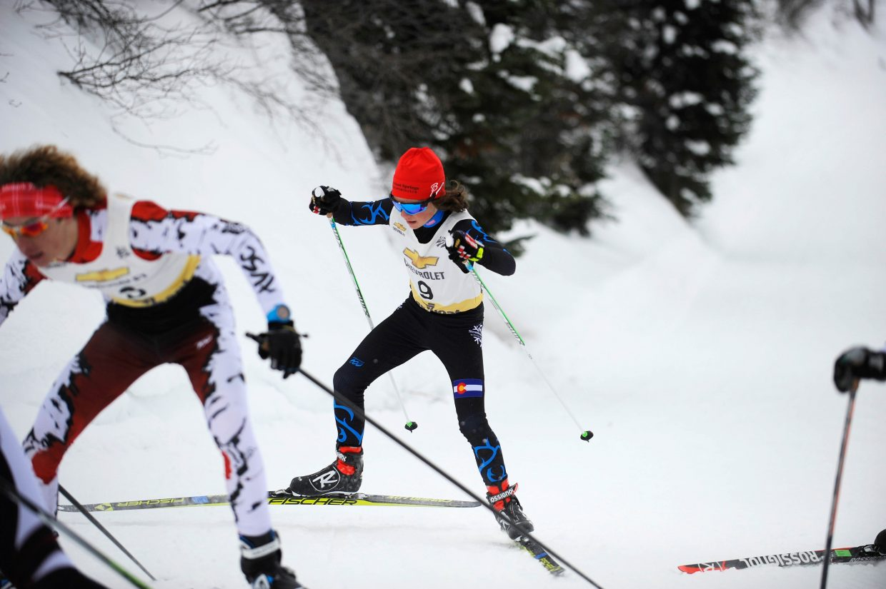 Steamboat Springs Winter Sports Club athlete Chase High competes Saturday at Howelsen Hill.