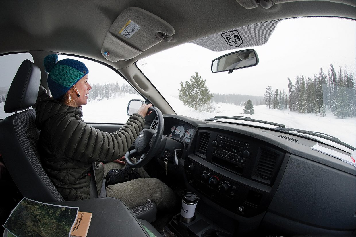 Christine Shook drives along Routt County Road 129 north of Columbine on her way to the Butterhill Snow Curse. Shook measures the snow pack at several locations in Routt County to help forecast how much water is in the snow, and what this area can expect in terms of runoff in the spring.