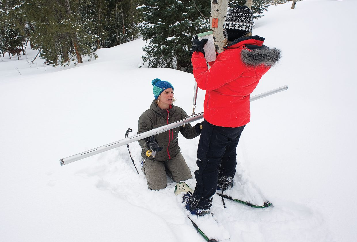 Snow Surveyor Christine Shook gets a helping hand from Lori Jazwick, the District Conservationist in the Steamboat Springs NRCS Field Office, while measuring the water content of a snow sample in Northern Routt County.