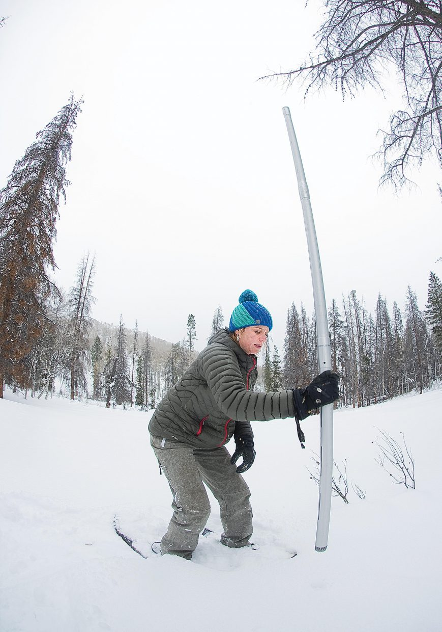 Christine Shook uses a special tube to measure the snow at the Butterhill Snow Course in North Routt County.