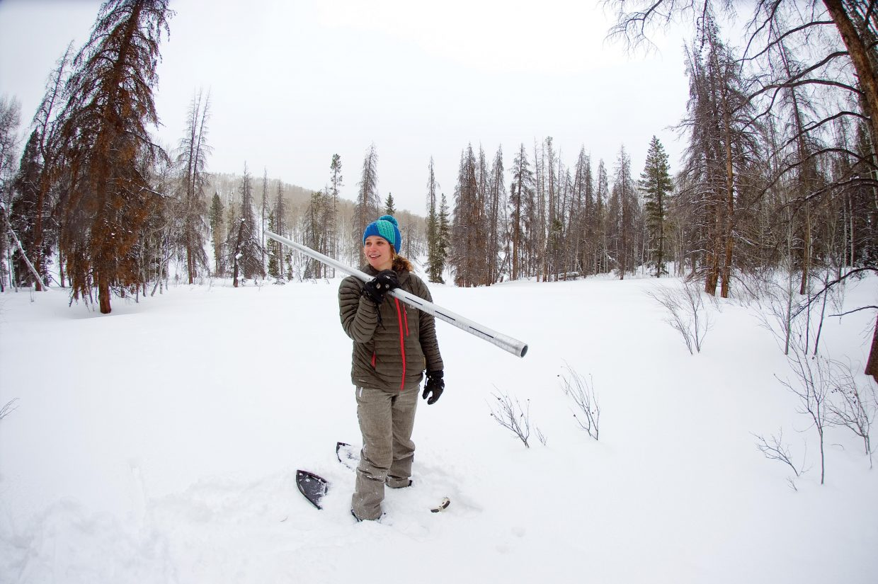 Christine Shook checks the snowpack on the Butterhill Snow Course in Northern Routt County in this file photo.