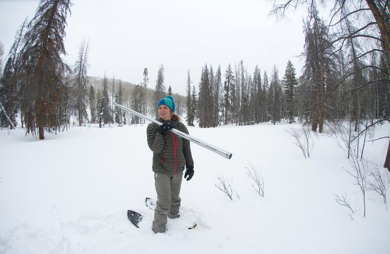 Christine Shook prepares to hike back out after checking the snow pack on the Butterhill Snow Course in Northern Routt County.