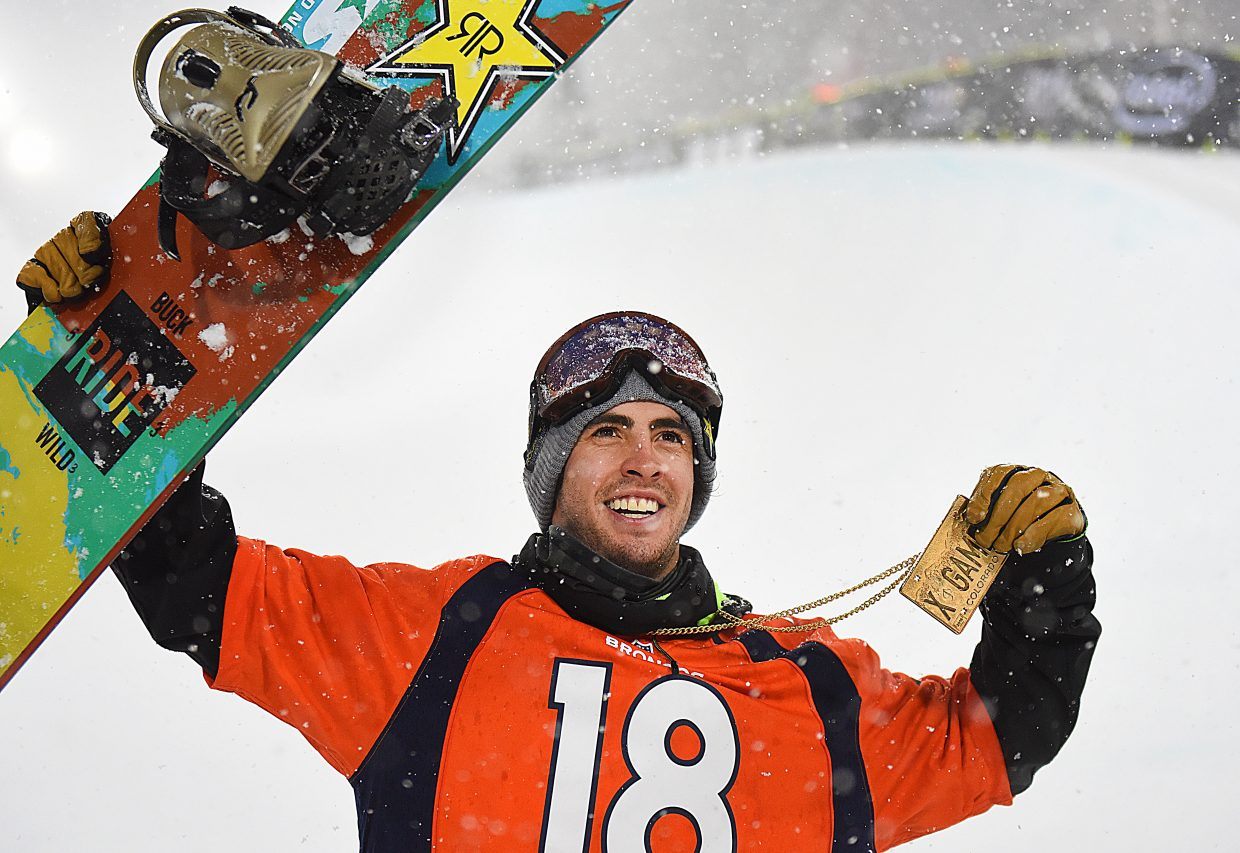 Steamboat Springs snowboarder Matt Ladley won Saturday's X Games men's superpipe event in Aspen. The event was shortened by an intense snowstorm. Ladley had laid down the best first run of the 12 elite competitors and that gave him the biggest victory of his career.