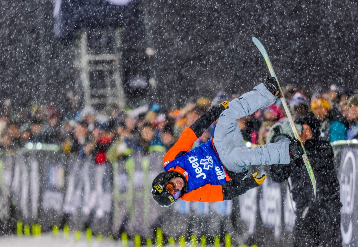 Matt Ladley flips in front of the crowd Saturday on his way to an X Games gold medal.