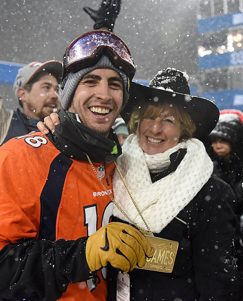 Steamboat Springs' Matt Ladley shares a moment with his mother, Ellen Ladley, after winning gold at the X Games on Saturday.