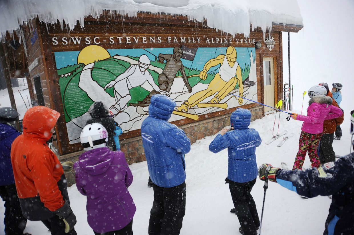 Steamboat Springs Winter Sports Club supporters celebrate the official opening of the new Stevens Family Alpine Venue on Saturday at the Steamboat Ski Area. The Winter Sports Club raised $2.4 million to build the new training facility.