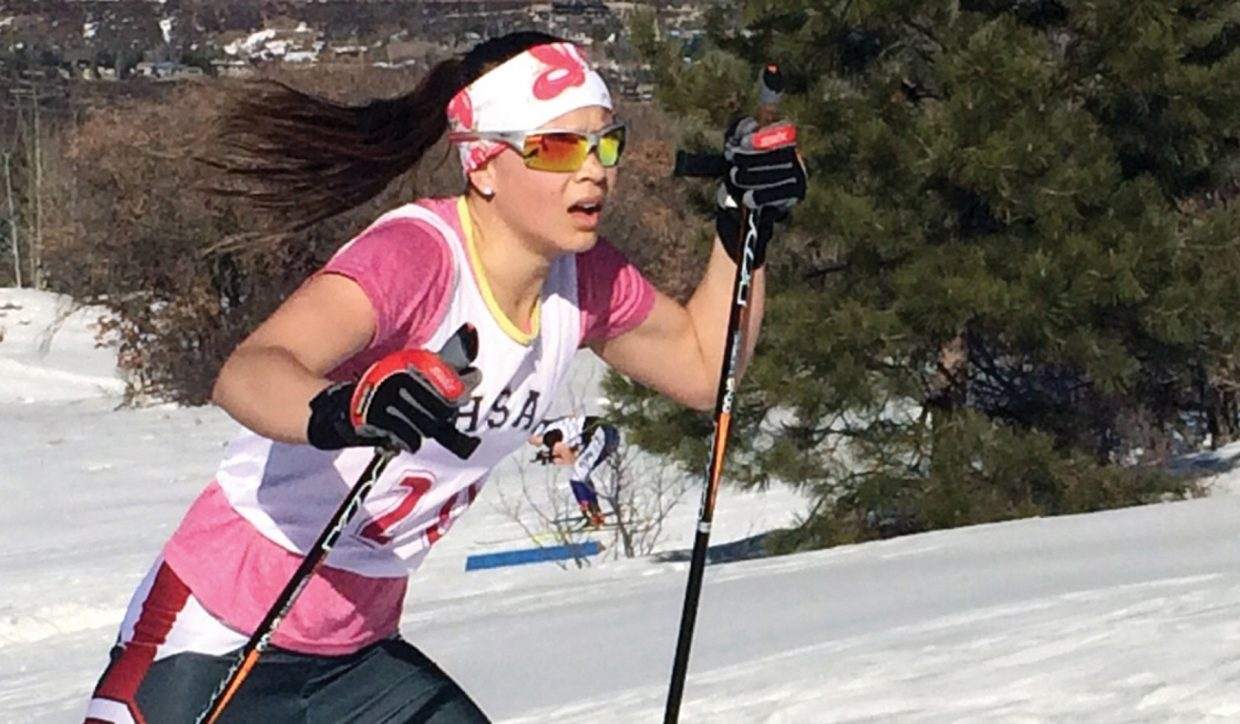 Steamboat Springs skier Annika Malacinski, shown here at last year's state championships, placed second during the weekend in a freestyle race hosted by Battle Mountain at Maliot Park.