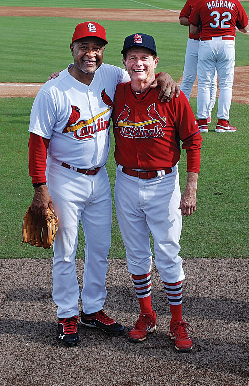 Steamboat Springs resident Steve Jones gets his photo taken with legendary Cardinal Ozzie Smith during a recent St. Louis Cardinals Fantasy Baseball Camp. The Cardinals in a partnership with St. Louis Mercy Hospital Children's Cancer Center host the camp.