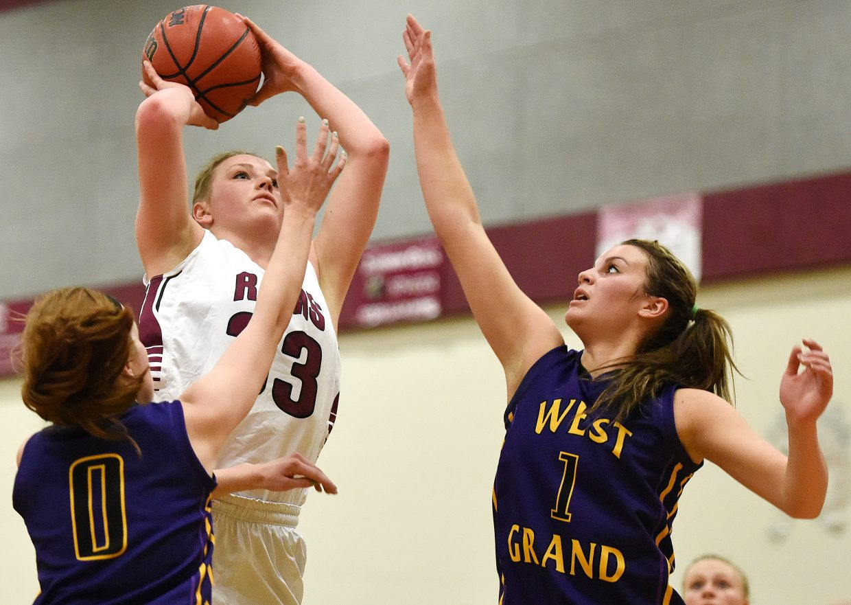 Soroco's Jessica Rossi rises up for a shot Saturday against West Grand.