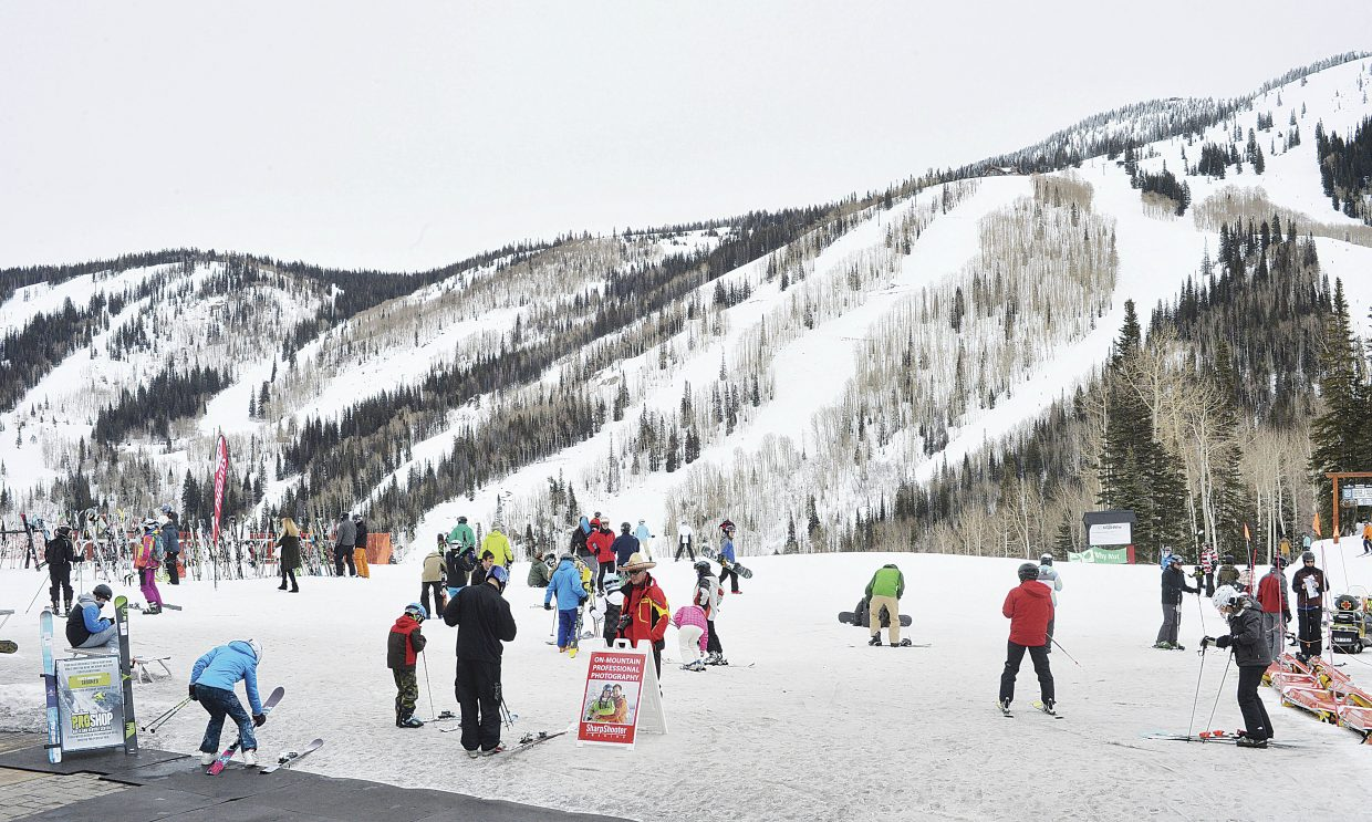 Despite record-low snow fall in January, nearly all the terrain at Steamboat Ski Area remains open.