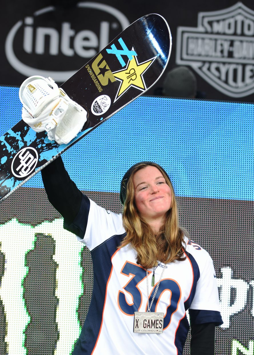 Arielle Gold celebrates after winning silver in the women's superpipe competition at X Games Aspen on Sunday.