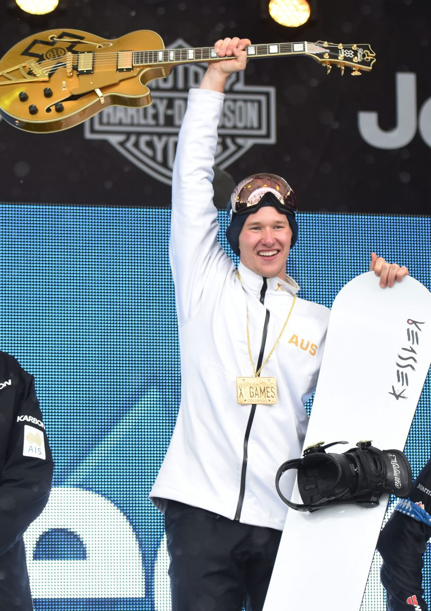 Jarryd Hughes, an Australian snowboarder who has trained in Steamboat Springs, won his first X Games medal on Sunday, winning the men's snowboarder X event in Aspen.