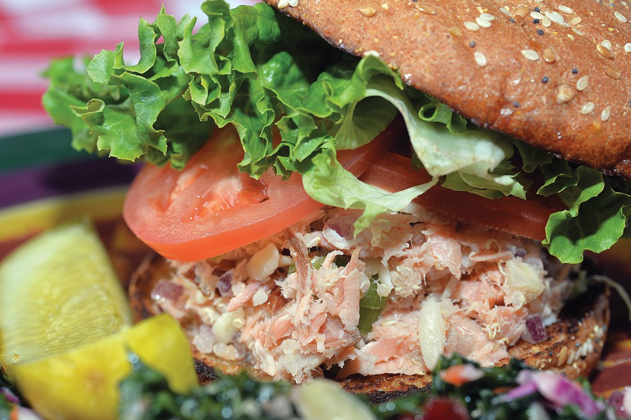 Steamboat Ski Area is making it menu a little healthier these days, and one of the newest items is this salmon salad sandwich with kale slaw.