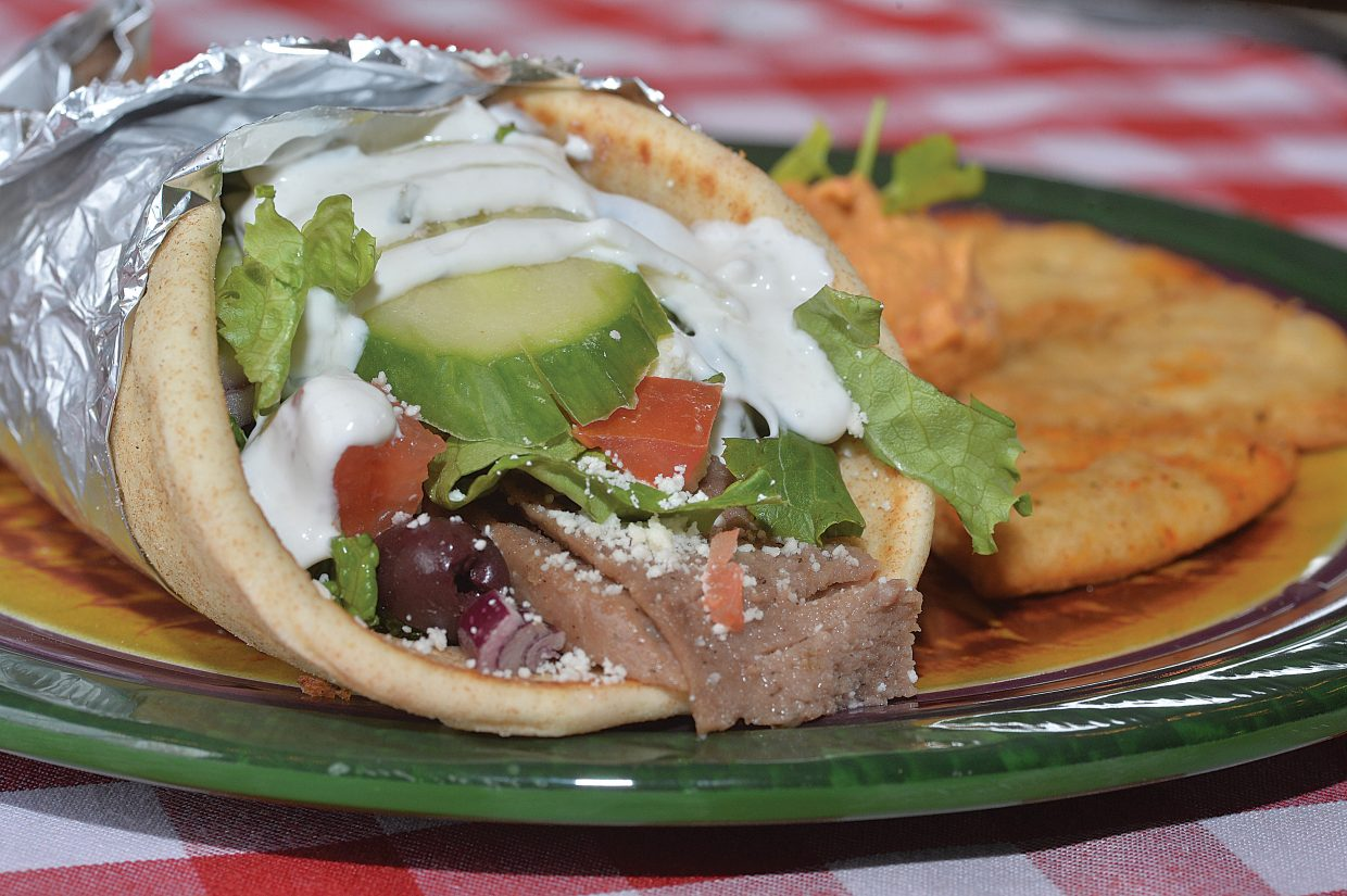 Steamboat Ski Area is making its menu a little healthier these days. One of the newest items is this Gyro (made with lamb, vegetables and yogurt) with pita, hummus and carrots.