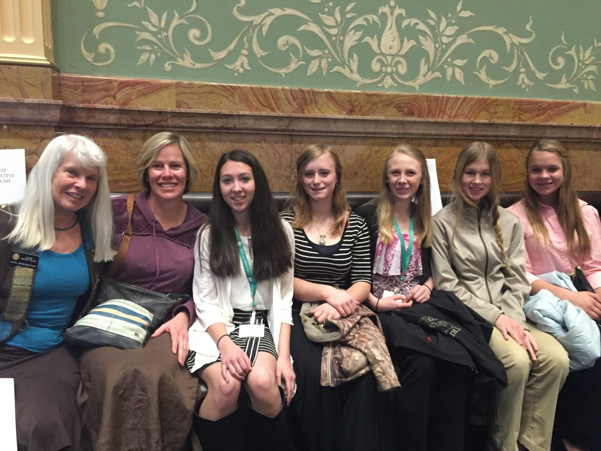 More than 150 4-H members visited the Colorado State Capitol, where lawmakers recited the 4-H pledge and declared Monday, Jan. 25 as 4-H Day in Colorado. Rep. Diane Mitsch Bush invited Routt County 4-H members to sit on the floor of the House where she met personally with them. Pictured, from left, are Mitsch Bush, 4-H and Youth Development Extension Agent Tami Eggers, Kaitlyn Ibarra, Kendra Halder, Jessica Diehl, Cosette McLaughlin and Greta Thurston.