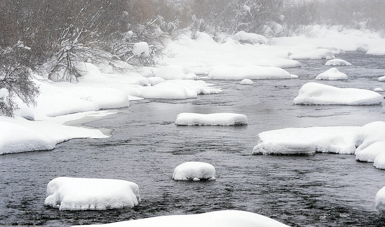 The water stored in the snowpack at 9,400 feet on Rabbit Ears Pass was 135 percent of median for the date Monday morning and has since increased further. It's a positive sign that the Yampa River will see healthy flows this summer.