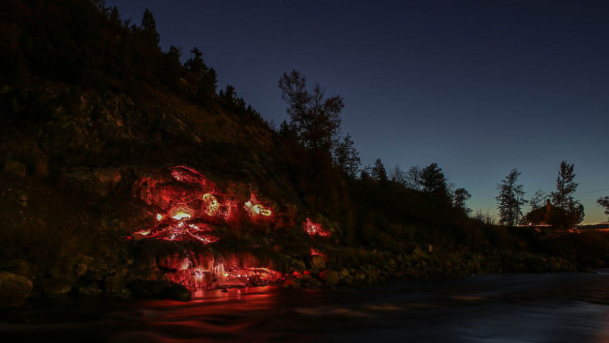 Last year, artists Katy Flaccavento, and Zachary Christopher constructed a light installation at the springs along the Yampa River.