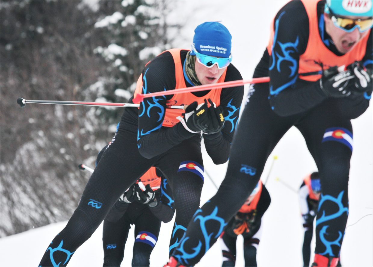 Steamboat's Nick Sweeney hangs tight in a pack of fellow Steamboat Springs Winter Sports Club skiers on Saturday during a Nordic freestyle sprint race at Howelsen Hill.