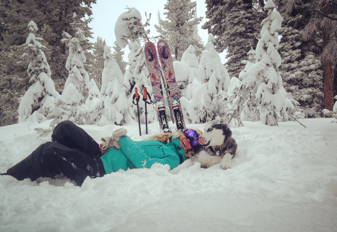 Ashlee Anderson and her Siberian husky, Sitka, on Rabbit Ears Pass in November.