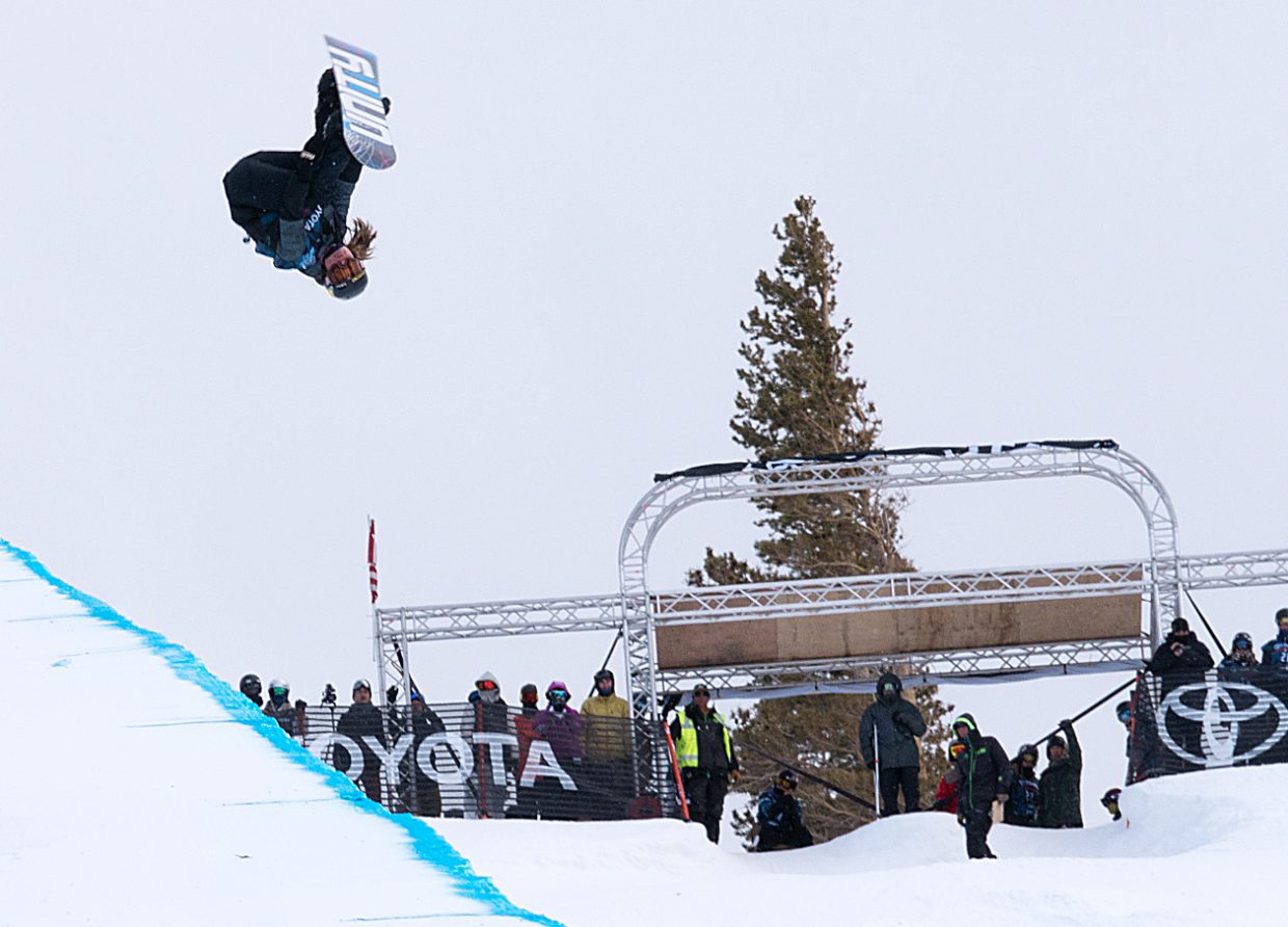 Steamboat's Arielle Gold flips through her run Wednesday during the women's snowboard halfpipe qualifier at a U.S. Grand Prix event at Mammoth Mountain Resort, California. Gold placed sixth and advanced to the weekend's finals.