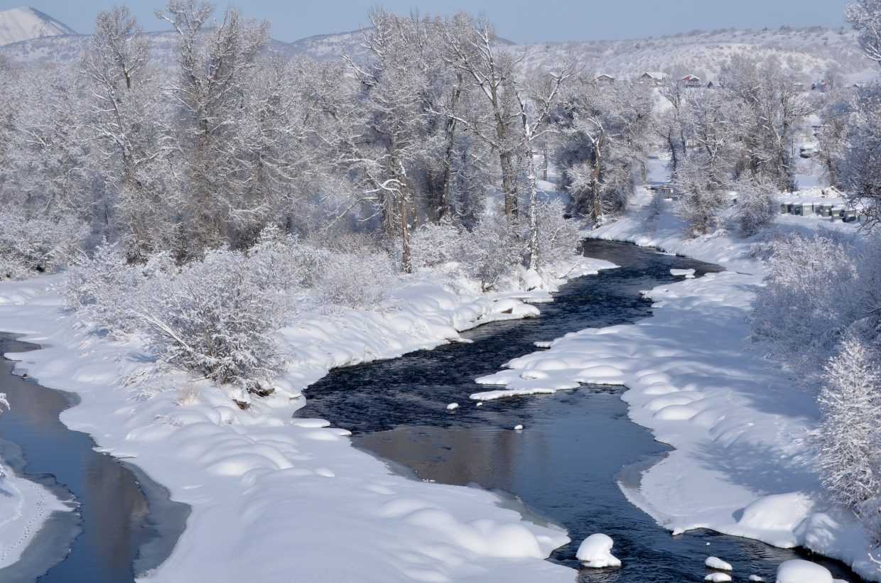 Between 7 and 8 inches of wet snow fell in the Yampa Valley Feb. 2, frosting the branches of trees along the Yampa River in Steamboat Springs and helping boost the water stored in the snowpack in the Yampa River Basin to 128 percent of median for the date.