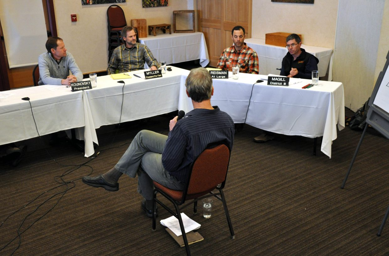Todd Musselman, center, leads the Steamboat Springs City Council in a four-hour retreat in February. The council will resume the second half of the retreat Tuesday night when it sets goals.