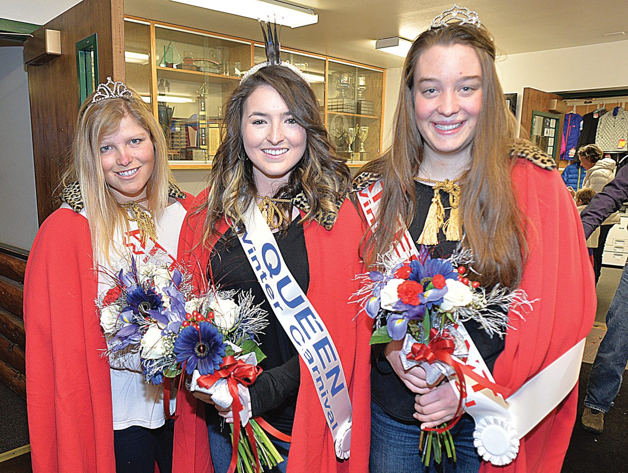 This year's Winter Carnival royalty includes, from left to right, junior attendant Ellese Lupori, queen Maggie Carrigan and sophomore attendant Ester Rose DelliQuadri.