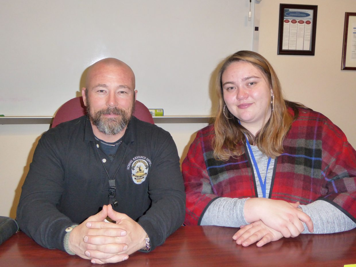 Norm Rimmer, school resource officer for the Craig Police Department, and Nicole Shatz, case manager supervisor for the Moffat County Social Services Department, are among those seeking to educate the public about child abuse.